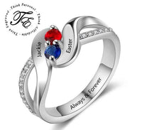 Mothers Ring 2 Stone Personalized Engraved 2 Birthstone Swept Hearts - Think Engraved