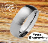 Men's Promise Ring Engraved Brushed Steel Finish