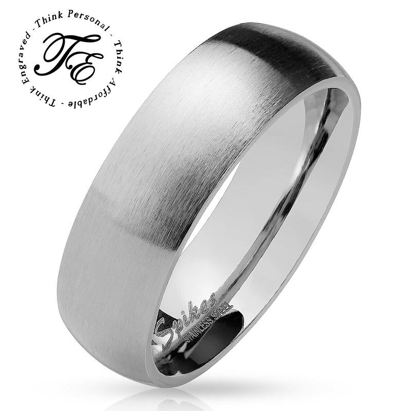 Men's Promise Ring Engraved Brushed Steel Finish - Think Engraved