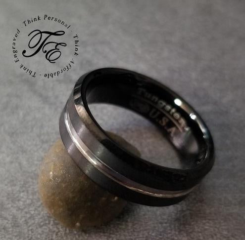 Mens Black Engraved Tungsten Wedding Band With Silver Line