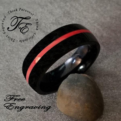 Men's Promise Ring Engraved Wedding Band Red Inlay - Think Engraved