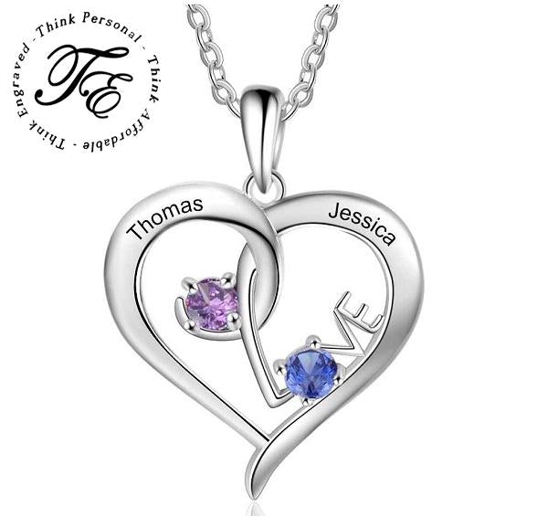 2 Stone Personalized Mothers or Couples Necklace Love Design - Think Engraved