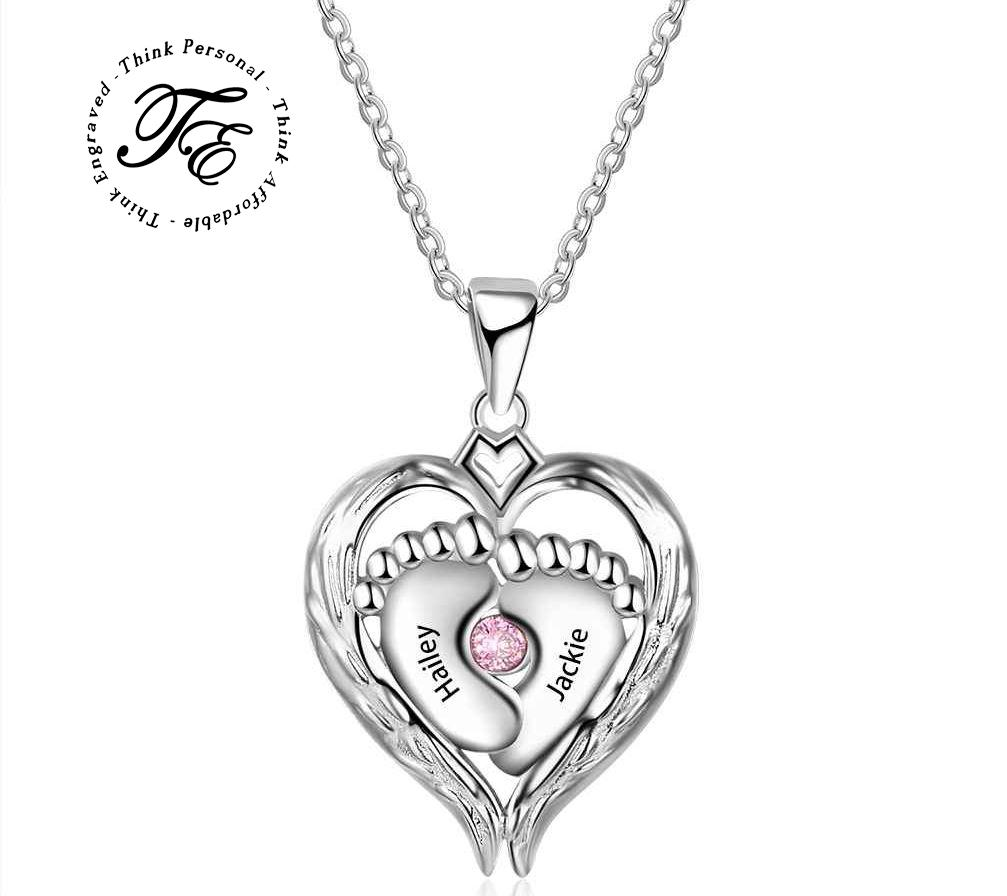 1 Birthstone Mother's Necklace Angel Wings Heart - Think Engraved