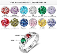 Personalized Mother's Ring 2 Birthstones 2 Names