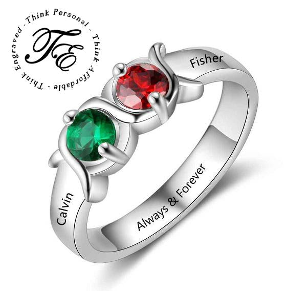 Personalized Mother's Ring 2 Birthstones 2 Names - Think Engraved