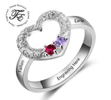 2 Stone Mother's Ring with Ornate Heart Design - Think Engraved