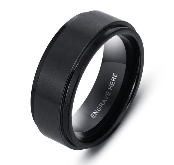 Engraved Tungsten Men's Wedding Band or Men's Promise Ring