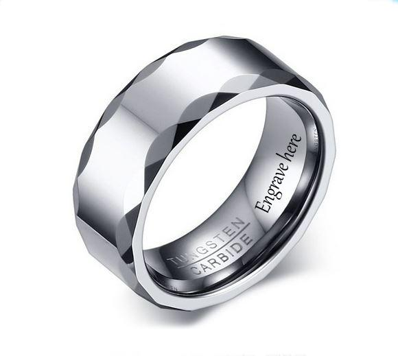 Engraved Tungsten Silver Unique Bevel Men's Promise Ring - Think Engraved