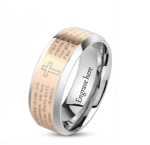 Personalized Rose Gold IP Prayer Ring 6mm - Think Engraved