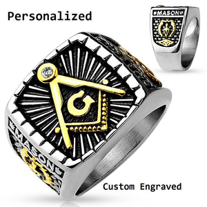 Personalized Ornate Freemason Ring - Think Engraved