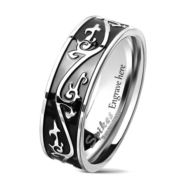 Engraved Raised Tribal Men's Promise Ring Band 8MM - Think Engraved