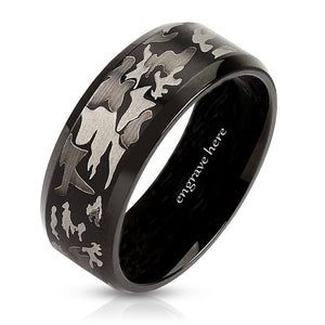 Engraved Grey Black Camo Men's Promise Ring Band 8MM - Think Engraved