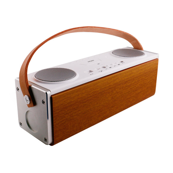 Portable Subwoofer Enceinte Bluetooth Speaker 20W Big Power Wooden Wireless Speakers Surround Soundbox boombox with Mic TF Slot