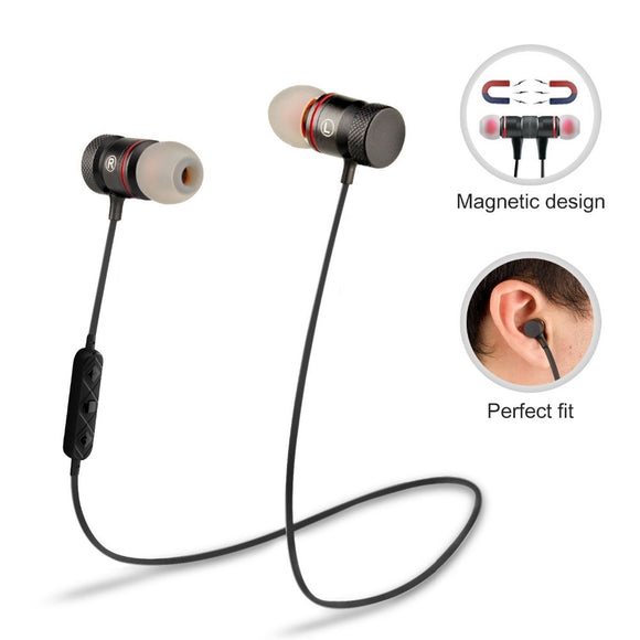 Magnet Sport In-Ear Bluetooth Earphone Earpiece Handsfree Stereo Headset Wireless Earphones with Mic for Iphone 7