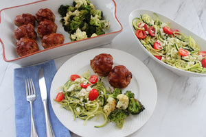 Tuesday, August 28th: BBQ Mini Meatloaves with Pesto Pasta or Zucchini Noodles