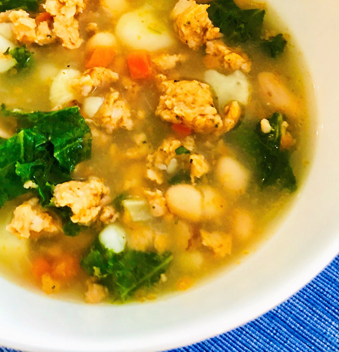 Chicken Sausage, Kale, White Bean Soup