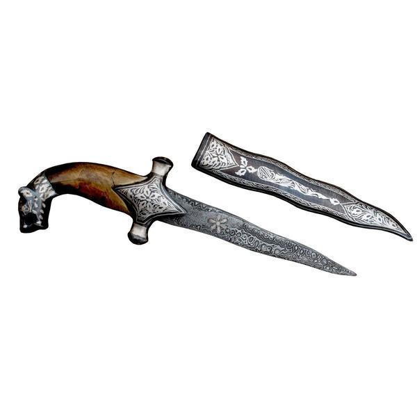 10'' Bone Hand Damascus Dagger With Silver Koftgiri Work Designer English Knife Handcrafted