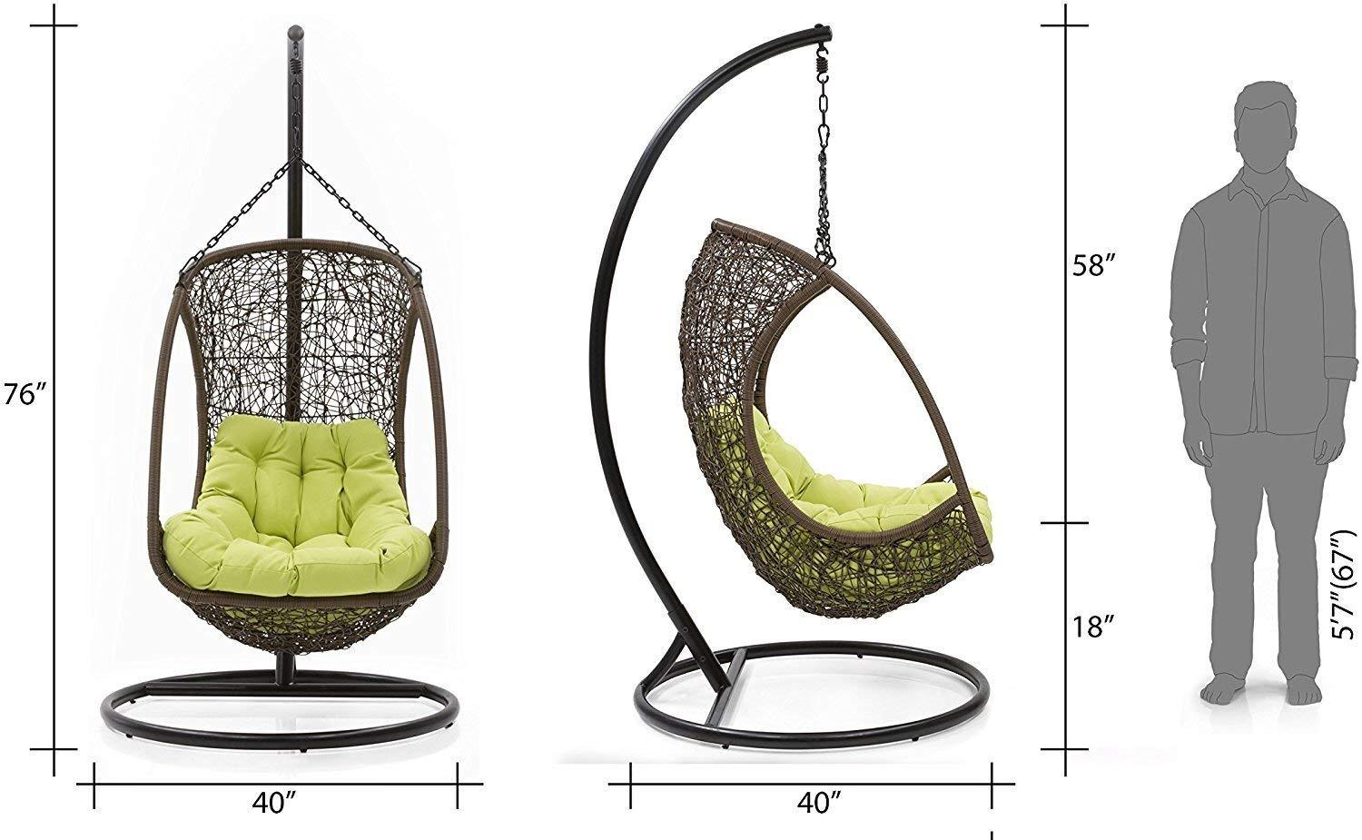Insignia Balcony Swing Chair with Stand (Brown)