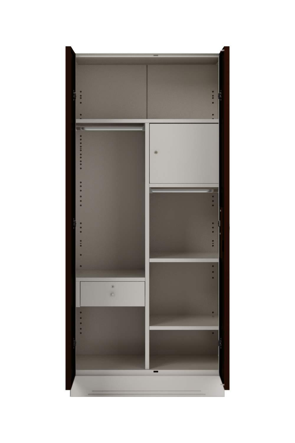 Insignia  Slimline 2 Door Almirah with 7 Shelves and Drawer (Glossy Finish, Russet)