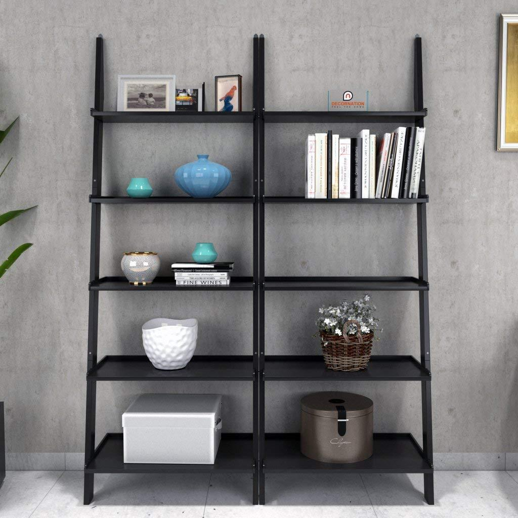 Insignia Bookcase Ladder and Room Organizer Engineered Wood Wall Shelf, Black