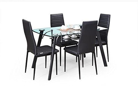 Insignia Milan Four Seater Dining Table Set (Black)