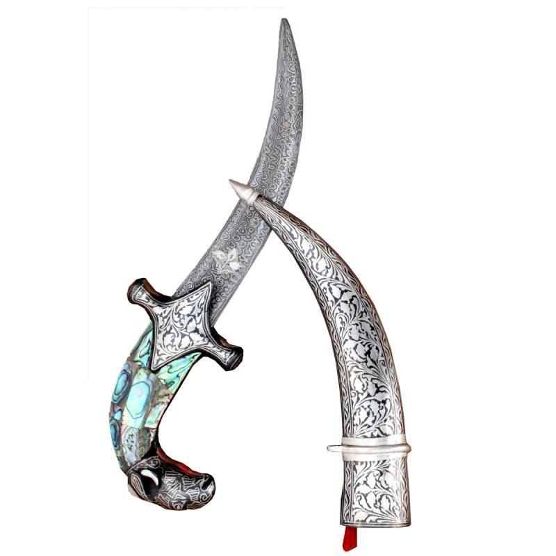 Historical Antique Ancient Medieval Knight Vintage Sword Dagger With Excellent Artwork - 12 Inches ( Blue Green)
