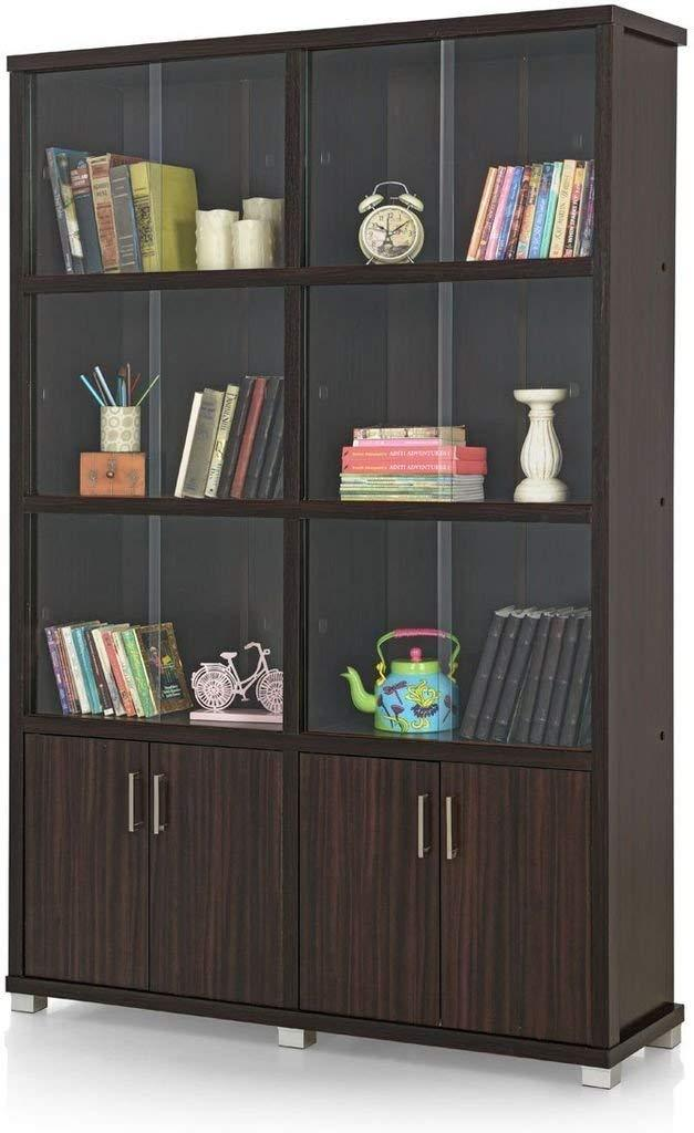 Insignia Twin Bookshelf with Sliding Doors (Dark Brown)