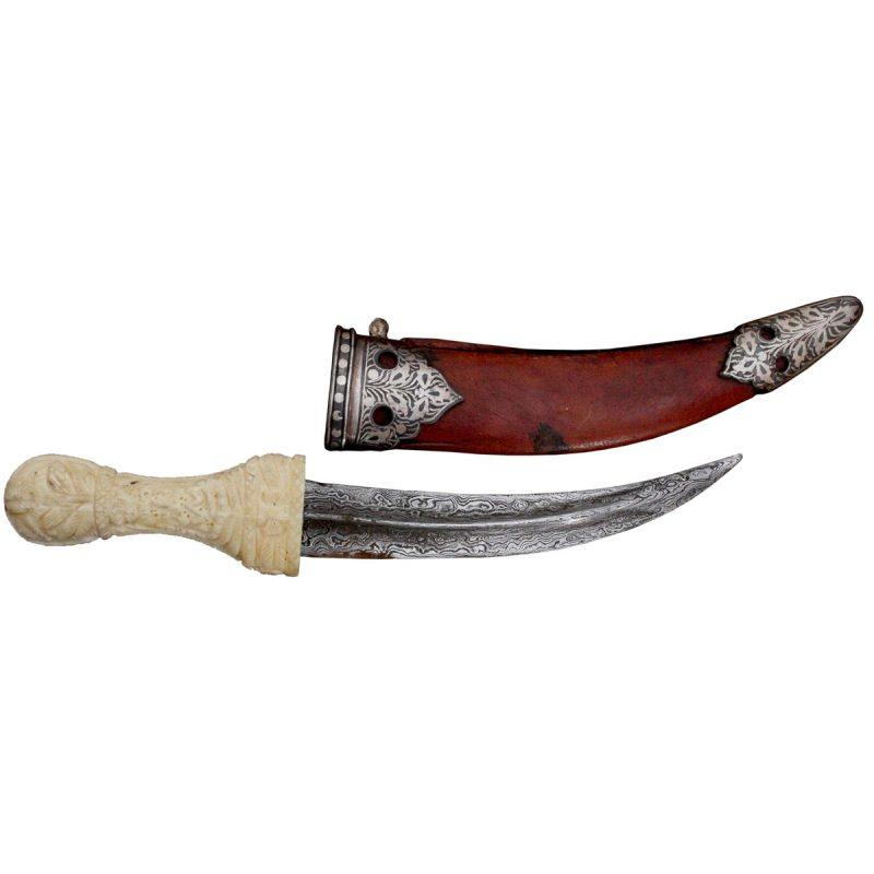 Historical Carved Bone Hand Dagger Antique Mughal Indo-Persian Fine Silver Inlay - 9 Inches