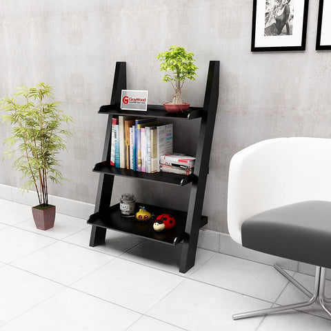 Insignia Bookcase Ladder Shelf & Room Organizer Storage Divider Wood Furniture- Black