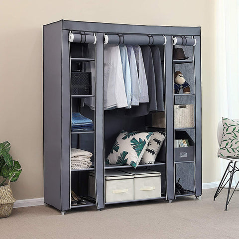 Insignia 3 Door Collapsible Cloth Wardrobe | Foldable Closet Almirah & Cloth Organizer | 5.75 Feet Height (Grey Color)