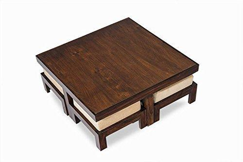 Insignia Sheesham Wood Coffee Table for Living Room | Center Table | with 4 Stools | Walnut Finish with Cream Cushion