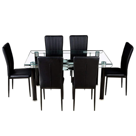 Insignia Vatican Glass 6 Seater Dining Table Set (Black)