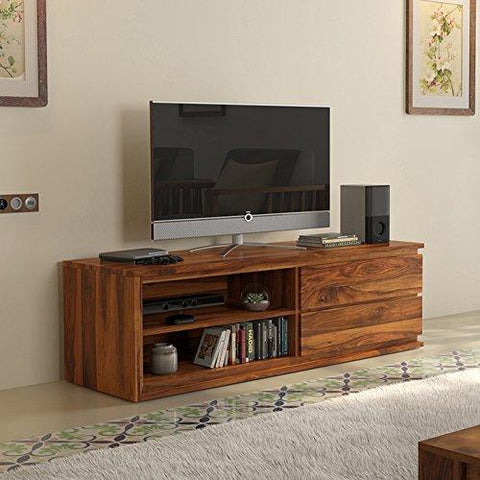 "Insignia Vector Solid Wood 52"" TV Unit (Teak Finish), home organizer and Storage."