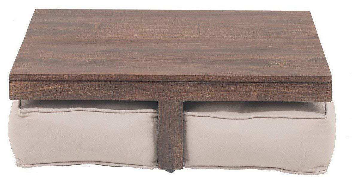 Insignia Low Coffee Table with Seats (Honey Brown Finish, Brown)