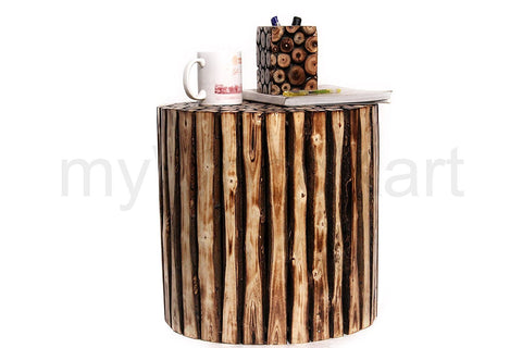 Insignia Wooden Round Shape Stool/Table Made from Natural Wood Blocks 16 inch