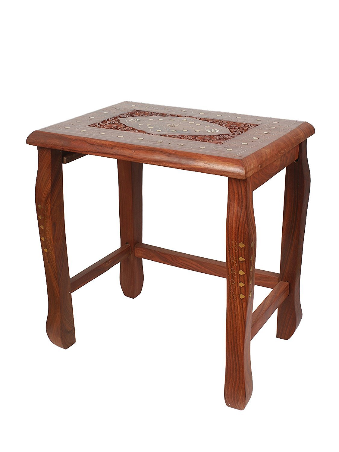 Insignia Wood Nesting Tables with Brass Work (Set of 4)