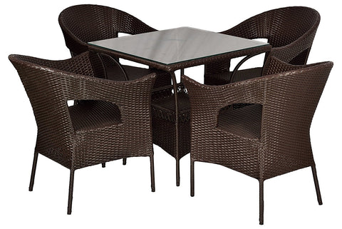 Insignia Venus Outdoor Patio Furniture Set 4+1 - (Brown)