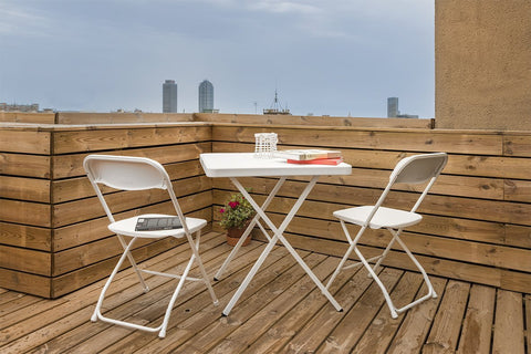 Insignia Balcony/Garden Folding Furniture Set: 1 Table & 2 Chairs - White