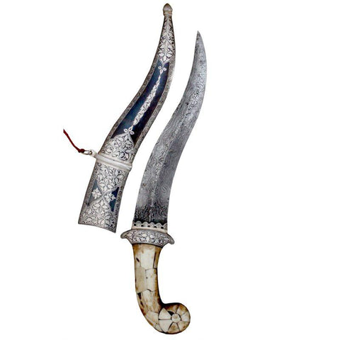 Elegance Handmade Hunting Dagger Sword Beautiful Crafted With Classical Silver Inlay Koftgari Work And Damascus Blade - 15 Inches