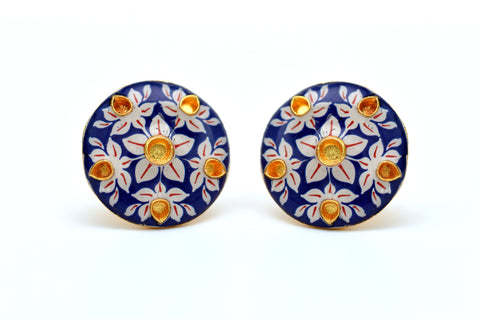 Designer Damascus Silver Plated Worked Smart Cufflinks - Blue Floral Party Wear