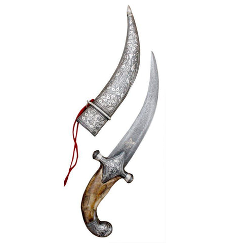 Hand-carved Silver Blade Indo Persian Knight Vintage Sword Dagger Knife Scabbard - Bone (12 Inches)