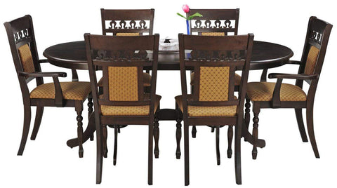 Insignia Angel Six Seater Dining Table Set (Walnut)