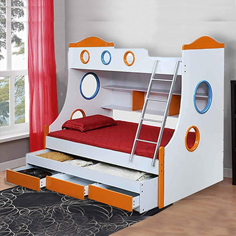 Insignia  Remo Double Size Bunk Bed (White and Orange)