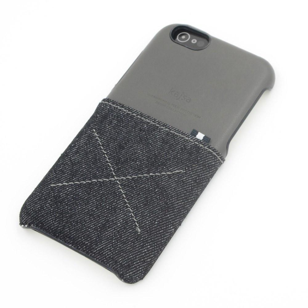 Back Cover - Genuine Kajsa Case For IPhone (Denim Styled)-BLACK