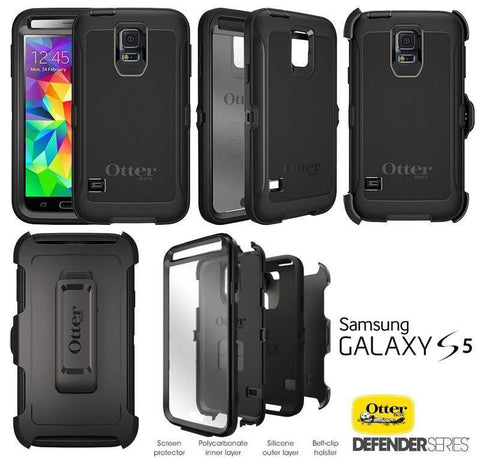 Back Cover - Otterbox Defender Rugged Case For Samsung S5