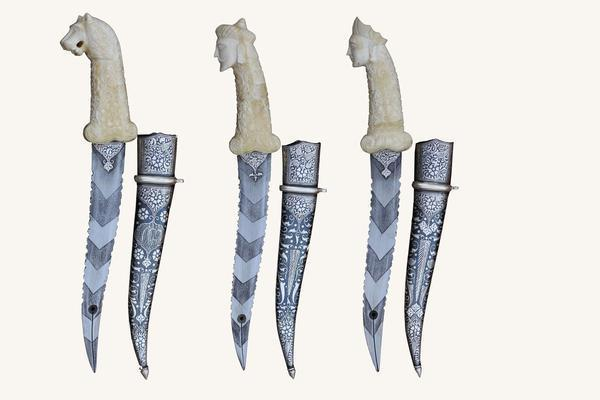 Camel Bone Hard Carving Koftgiri (silver) Dagger  : Designer Damascus Blade - Set Of 3
