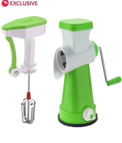 Chopper - COMBO 4 In 1 Rotary Stainless Steel Grater Shredder Slicer Chopper + NON -electric Hand Blender