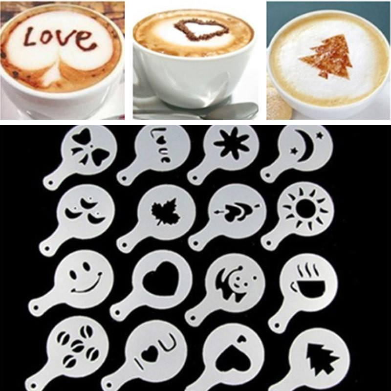 Coffee Stencil - 16 In 1 Coffee Decoration Stencil Kit