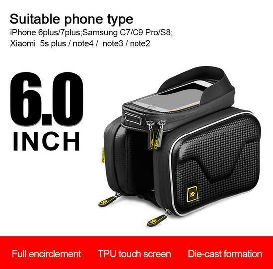 CoolChange Waterproof Touch Screen Bicycle Bag Frame Front Top Bike Bag Double Pouch Cycling Bag 6.0 In Cell Phone Accessories