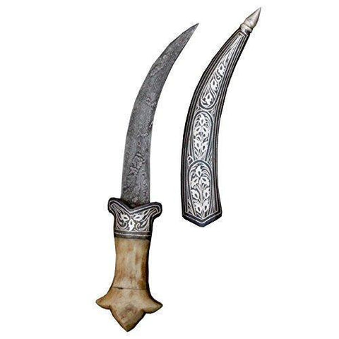 Dagger - 8 Inches Bone Hand Dagger With Silver Koftgiri Work And Damascus Blade Designer English Knife Handcrafted